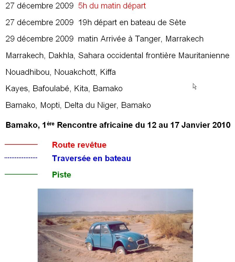 ORLEANS BAMAKO Parcours prévisionel 1